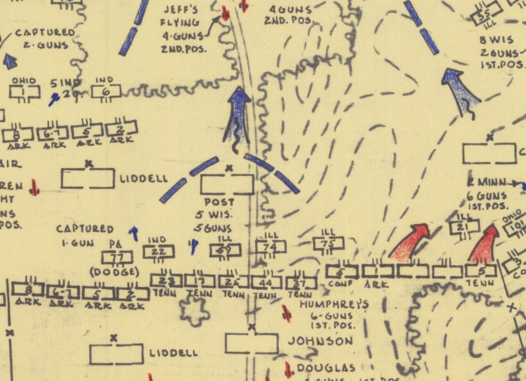 Detail of Stones River battlefield, 9am, showing Confederate onslaught. Map drawn by Ed Bearss, National Park Service